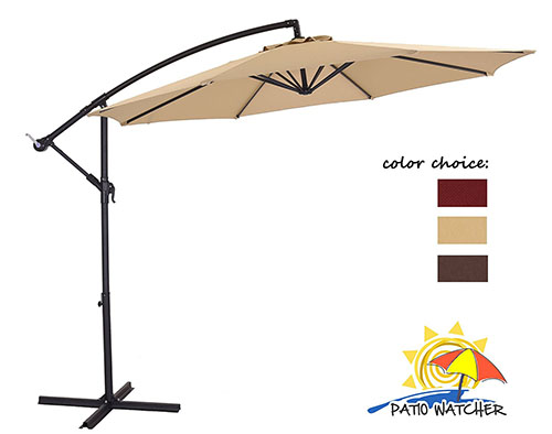 Patio Watcher Offset Patio Umbrella, Beige