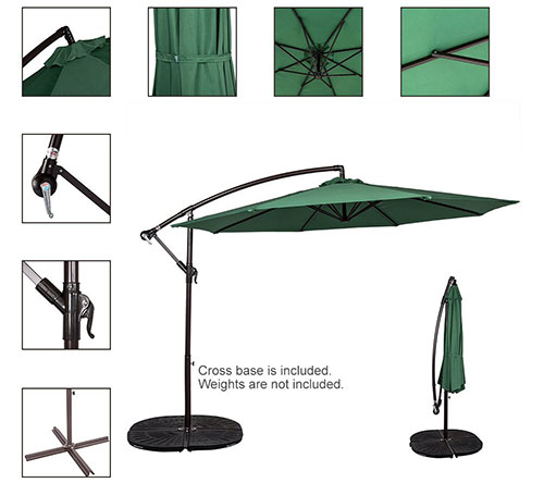 Sundale Outdoor 10 Feet Aluminum Offset Patio Umbrella