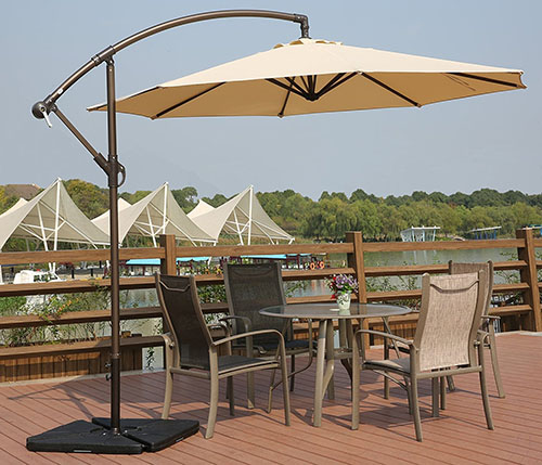 8 AMT Adjustable Offset Cantilever Hanging 10u2032 Patio Umbrella