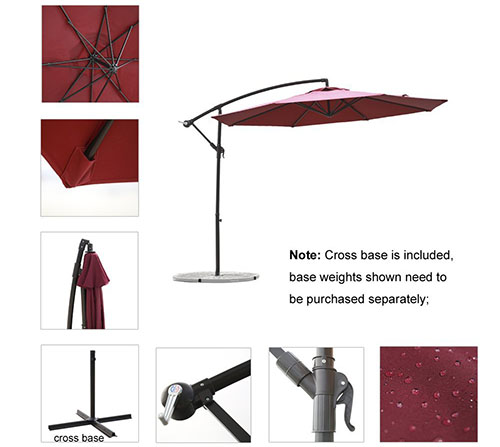C-Hopetree 10' Aluminum Frame Patio Offset Umbrella