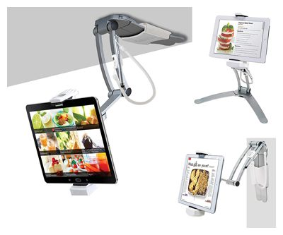 CTA Digital PAD-KMS 2-in-1 Kitchen Desktop Tablet Stand Wall Mount Holder