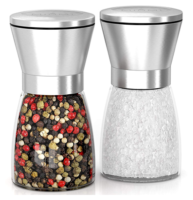 Miumi salt & pepper mill shakers set of 2 - premium salt and pepper grinder set, adjustable and easy to use, stainless steel top