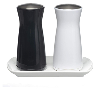 Salt and pepper shakers - novelty design gravity salt n pepper shaker set, stylish ceramic base, premium stainless-steel top