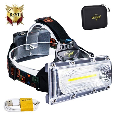 Led headlamps, letour rechargeable headlamp, cob high bright flashlight waterproof work light headlight