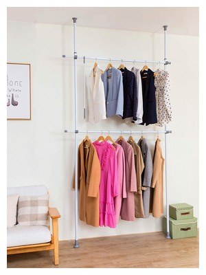 ALLZONE Adjustable Closet Rod Double Rail, Freestanding Clothing Garment Rack