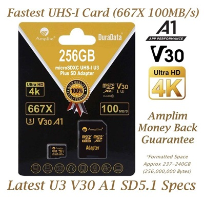256GB V30 A1 Micro SD SDXC Memory Card Plus Adapter Pack