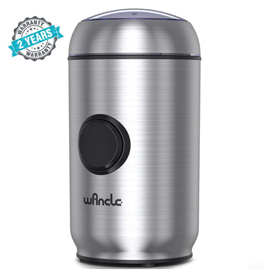 Wancle coffee electric one-touch pepper grinder for salt, spice, herb, nuts with smart overheat protection and lid safety lock