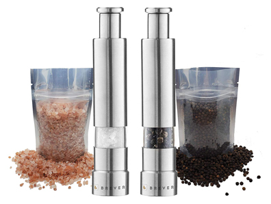 Brever original mini stainless-steel one-handed thumb salt and pepper grinder