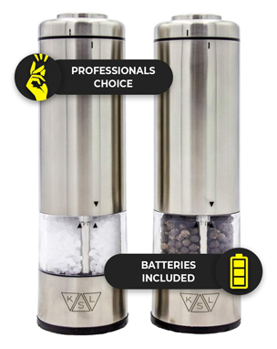 Ksl electric salt and pepper grinder set of 2 (batteries included) - gift-ready box - automatic one hand operation mills