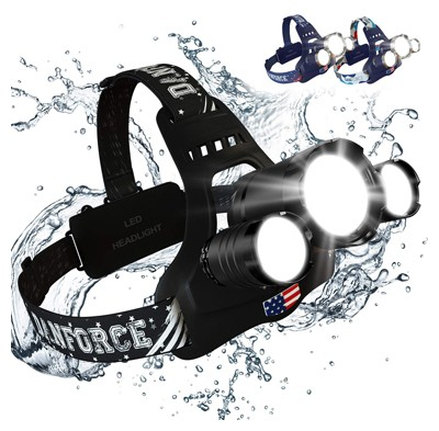 Headlamp, danforce led headlamp rechargeable, cree 1080 lumens brightest zoomable headlamp flashlight.