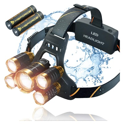 Rechargeable headlamp flashlight, 12000-lumen ultra bright led work headlamp, brightest USB rechargeable headlight.