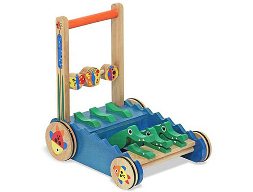 Melissa and Doug Deluxe Chomp and Clack Alligator Wooden Push Toy and Activity Walker