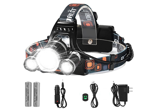Totobay 5000 Lumens LED Headlamp, Hard Hat Compatible, 4 Modes, Waterproof, 2 Rechargeable Batteries, Wall Charger, USB Cable, Car Charger