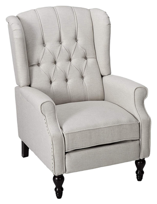 299844 Elizabeth Tufted Light Grey Fabric Recliner Arm Chair by Christopher Knight Home