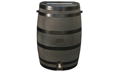 RTS HOME ACCENT 50-GALLON RAINWATER COLLECTION BARREL WITH BRASS SPIGOT, WOOD GRAIN