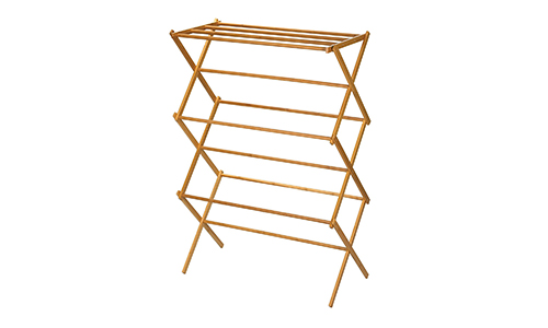 House Hold Essentials 6524 Tall Indoor Folding Wooden Clothes Drying Rack