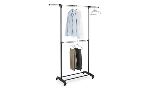 Whitmor Adjustable 2-Rod Garment Rack, Black & Chrome