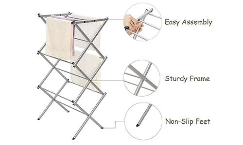 Storage Maniac 3-Tier Folding Water-Resistant Compact Steel Clothes Drying Rack
