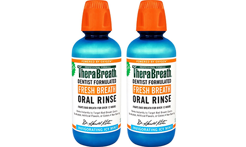 TheraBreath formulated by the Dentists comes up with Fresh Breath Oral Rinse – having an Icy Mint Flavor, sixteen Ounces with a Pack of 2