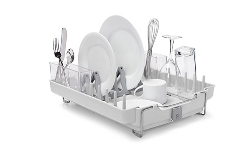 OXO Good Grips Convertible Foldaway Dish Rack, Stainless Steel: