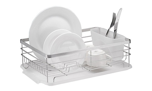 Stylish Sturdy Stainless Steel Metal Wire Medium Dish Drainer Drying Rack :