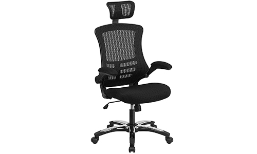 Flash Furniture with a High Back Black colored Mesh Executive Swivel Chair that comes up with Chrome Plated Base of Nylon and the Flipped Arms
