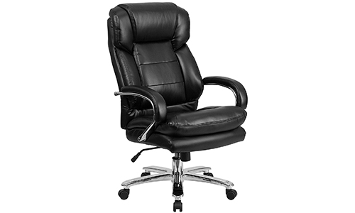 Flash Furniture that comes up with the HERCULES Series, used intensively; it is Big & Tall five hundred pounds; Black in color and is called the Leather Executive Swivel Chair along with the Loop Arms