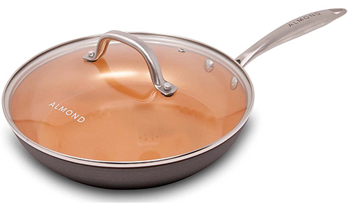 COPPER FRYING PAN, 10 INCH BY ALMOND