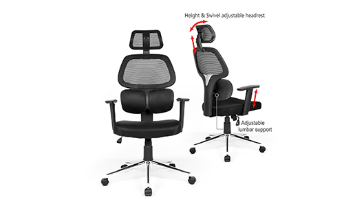 Ergonomic Mesh chair for Office use with High Back; the Swivel Computer Chair used with desks to perform certain tasks with Adjustable Lumbar Support, Headrest, Armrest, backrest, etc. having a Seat Height for conference room, home and office