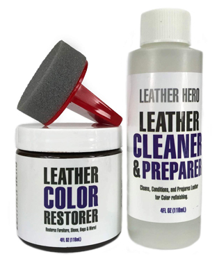 Leather hero leather color restorer repair kit- refinish, recolor, renew leather & vinyl sofa, purse, shoes, auto car seats, couch 4oz (white)