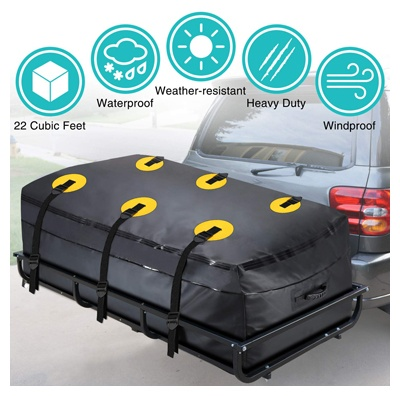 Modokit trailer hitch bag-100% waterproof hitch tray cargo carrier bag for vehicle car truck SUV vans, heavy-duty cargo bags
