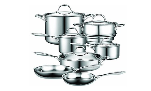 Cooks Standard 12 Pieces Multi-ply Clad Stainless Steel Cook Ware Set.