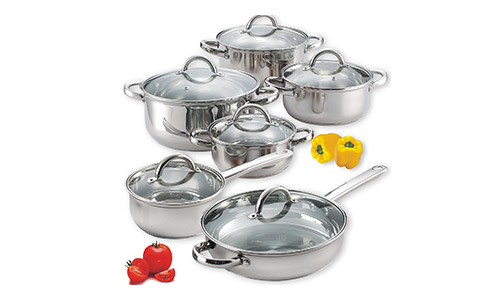 Cook N Home 12 Pieces Stainless steel Cookware Set.