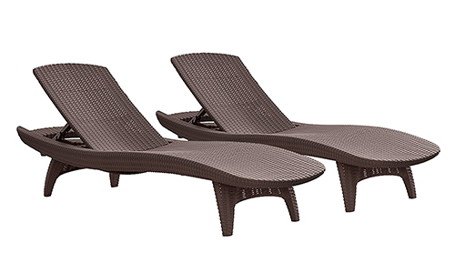 Keter pacific 2-Pack All-Weather Adjustable Outdoor Patio Chaise Lounge Furniture.