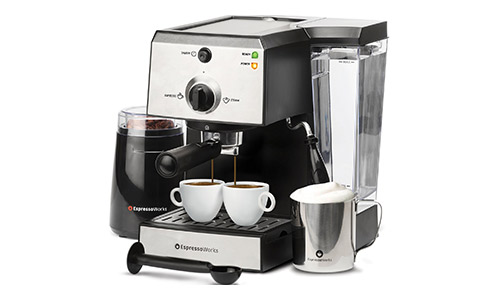 #EspressoWorks 7 Pc All-In-One Espresso/Cappuccino Machine Bundle Set