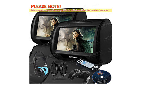 XTRONS Black 2X Twin Car headrest DVD player