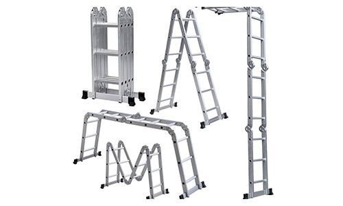 ALEKO FL-12 Multi-Purpose Multiple Position Heavy Duty 12 Step Aluminum Folding Ladde