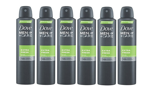 Dove Men Extra Fresh Antiperspirant Deodorant 48h Spray 150 ml/ 5fl oz (6-pack)