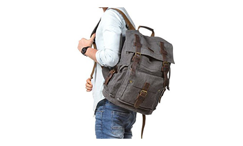 Kattee Men's Leather Canvas Backpack