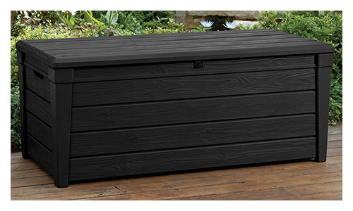 Keter Brightwood 120 Gallon Outdoor Garden Patio Storage Furniture Deck Box, Anthracite