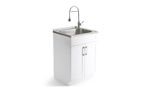 Simpli Home AXCLDYSS-24 Hennessy Laundry Cabinet with Faucet and Stainless Steel Sink