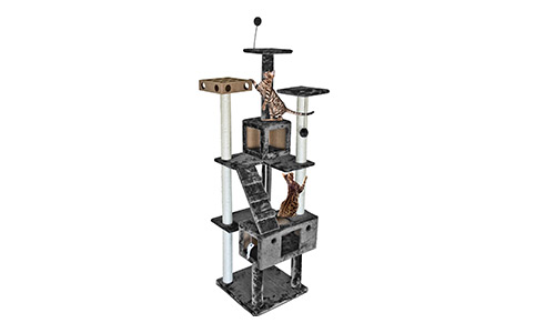Furhaven Pet Tiger Tough Floor-to-Ceiling Cat Tree House