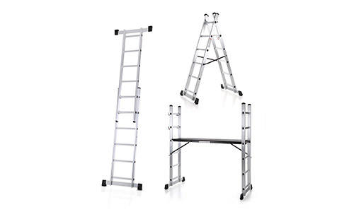 KAYAA 4-in-1 DIY Multi Purpose Scaffolding Ladder Aluminum Extendable Step Stool Work Platform Tower, 330 lb.