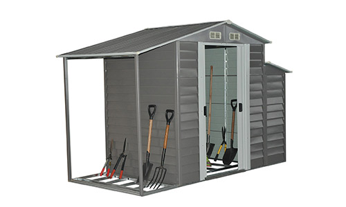 Outsunny 10' x 5' Metal Outdoor Garden Storage Shed w/ Firewood and Side Storage - Gray/White