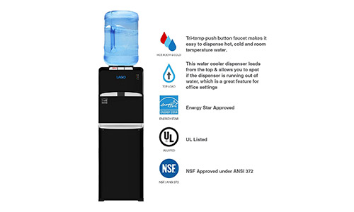 Lago Top Load Hot, Cold & Room Mini Black Water Cooler Dispenser
