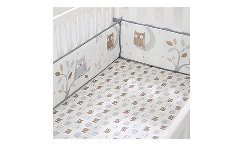 Cuddletime Starry Night Owls Crib Bumper, Gray