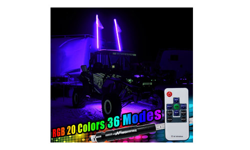 Night Fire 5FT RGB LED Whip Lights LED Antenna Safety Flags Pole w/ Quick Disconnect For UTV ATV Truck Boat Offroad(One Whip)