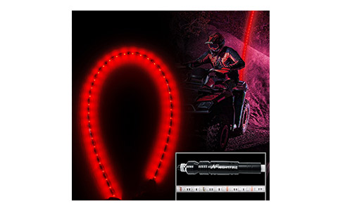 Night Fire Red LED Whips 6FT Flag Pole For Polaris RZR UTV Sand Dune Buggy Quad Truck Offroad Racing Motorcycle ATV Antenna Whip (One Whip)
