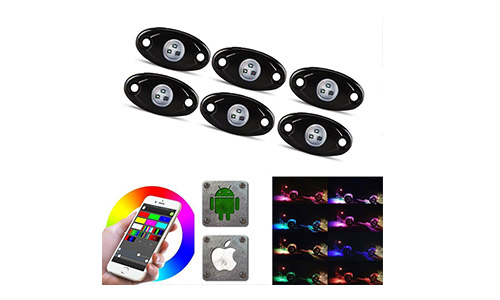 LED Rock Light Kits with 6/8 Pods RGB Lights for Trucks, Jeeps, SUV, ATV - Offroad, Crawling, Climbing Waterproof, SoundSync, Bluetooth App Controls Lamp Waterproof (6 pods)
