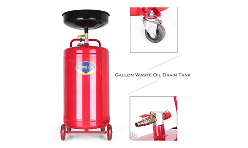 Timmart 20 Gallon Portable Waste Oil Drain Tank Pan Air Operated